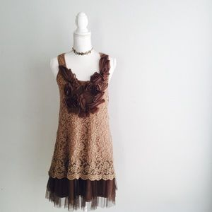 Ryu anthropologie tulle lace floral dress small